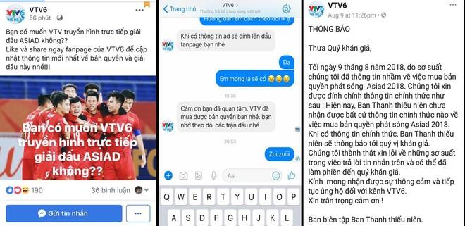 VTV xác nhận việc sở hữu bản quyền ASIAD nhưng ngay sau đó đã đính chính, xin lỗi