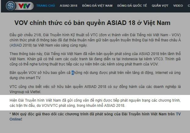 VTV thông báo đã gửi công văn đề nghị được tiếp phát nguyên trạng sóng các chương trình ASIAD từ VOV/VTC (ảnh chụp màn hình)