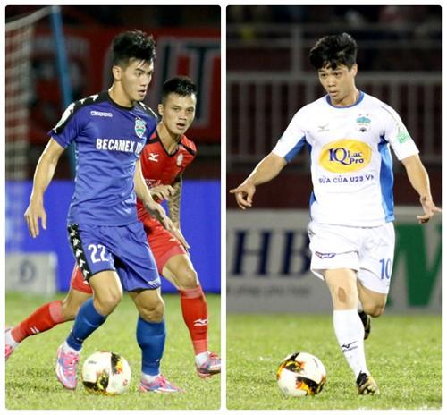 Ngày 8-10, Công Phượng (ảnh phải) và Tiến Linh sẽ đối đầu trực tiếp trong cuộc đua Cầu thủ nội ghi nhiều bàn thắng nhất V-League 2018