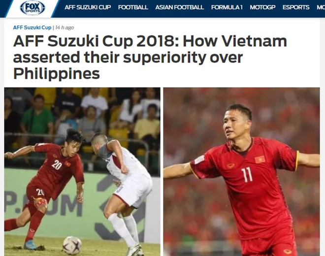 FOX Sports Asia dành nhiều lời khen cho màn trình diễn của thầy trò Park Hang-seo trước Philippines tại bán kết lượt đi AFF Cup 2018