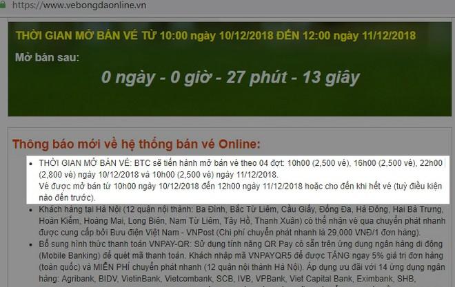 Trang web của ban tổ chức thông báo bán vé 4 đợt với tổng cộng 10.300 vé
