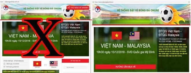 Trang web giả mạo giống y hệt trang web chính thức, chỉ khác tên miền vebongonline.com.vn(giả mạo) so với www.vebongdaonline.vn