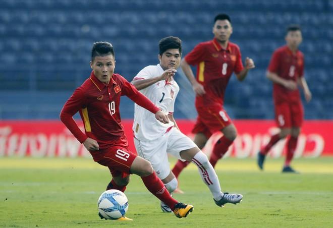 U23 Việt Nam trong trận thắng U23 Myanmar 4-0 tại M150 Cup 2017 (Ảnh: VFF)