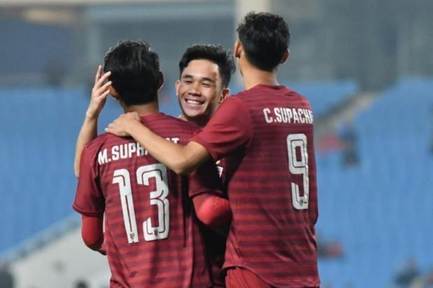 Cùng thời điểm U23 Việt Nam giao hữu U23 Myanmar tại Phú Thọ, U23 Thái Lan (ảnh) sẽ dự Merlion Cup tại Singapore (Ảnh: Bangkokpost)