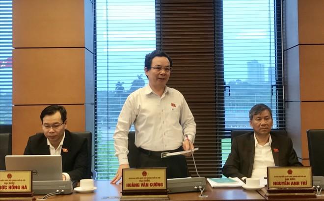 Đại biểu Hoàng Văn Cường phát biểu tại buổi thảo luận tổ, sáng 22-5