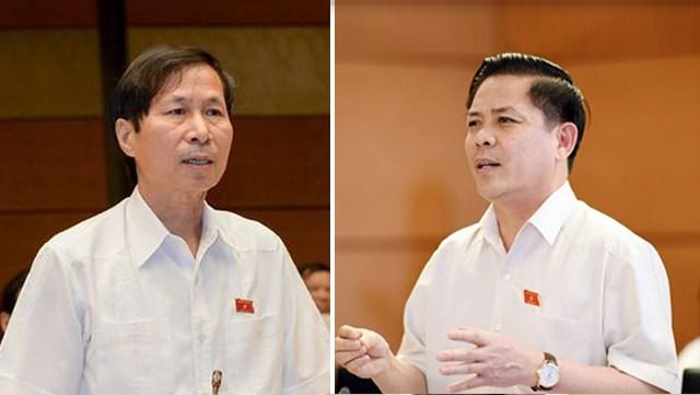 Đại biểu Bùi Văn Phương (bên trái) chất vấn Bộ trưởng Nguyễn Văn Thể
