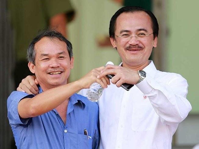 Bầu Thắng (bên phải) xin không ứng cử Phó chủ tịch tài chính VFF do bận công việc kinh doanh