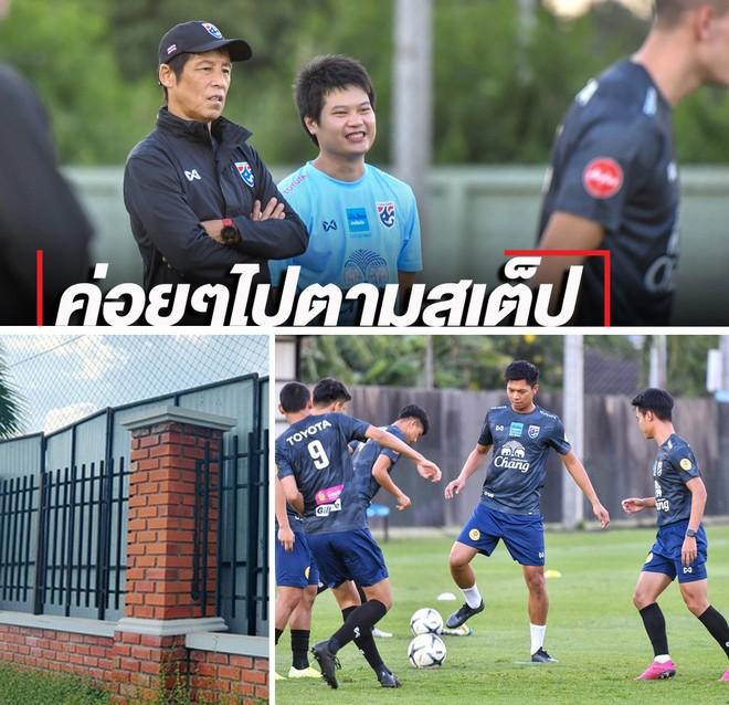 ĐT Thái Lan tập trong sân có rào chắn cao 2 mét theo yêu cầu của HLV Nishino