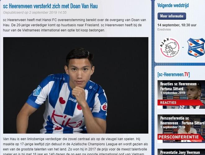 CLB Heerenveen đăng bài giới thiệu bản hợp đồng mới Đoàn Văn Hậu