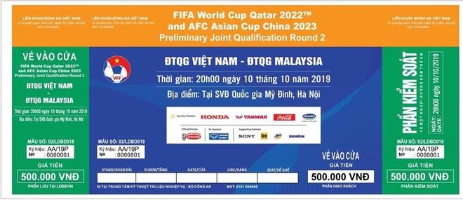 Mẫu vé trận Việt Nam - Malaysia ngày 10-10