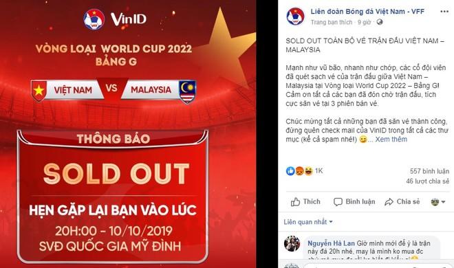 VFF thông báo bán hết toàn bộ vé, chỉ ít phút sau khi kết thúc phiên mở bán thứ 3