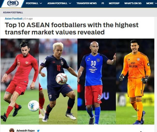 FOX Sports liệt kê 10 cầu thủ Đông Nam Á đắt giá nhất hiện tại