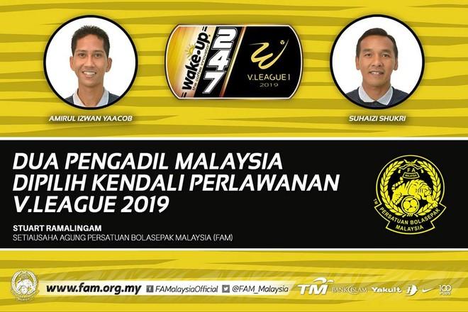 Hai trọng tài Malaysia sẽ cầm còi các trận đấu quyết định suất xuống hạng V-League