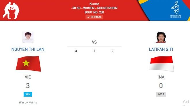 Nguyễn Thị Lan thắng áp đảo đối thủ người Indonesia để mang về tấm HCV thứ 4 trong ngày cho kurash Việt Nam