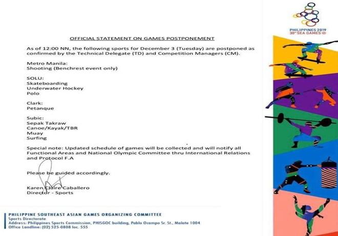 Thông báo lúc 12h của BTC SEA Games không đề cập tới hoãn môn bóng đá nam