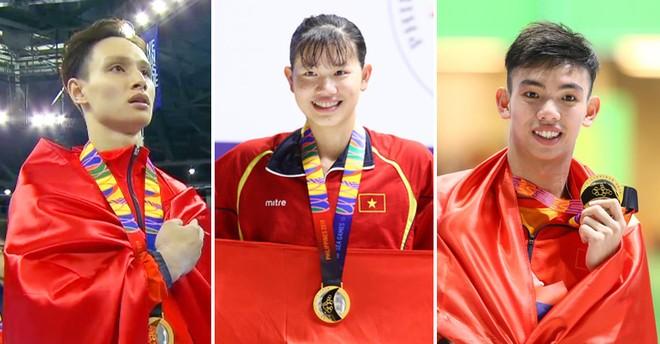 Từ trái qua: Đinh Phương Thành, Nguyễn Thị Ánh Viên và Nguyễn Huy Hoàng góp 4 HCV cho đoàn Việt Nam trong ngày thi đấu 4-12