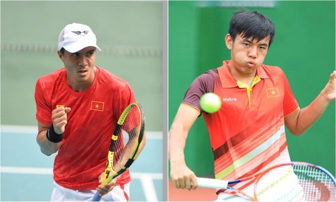 """Daniel Nguyễn (trái) cùng Lý Hoàng Nam tạo nên """"chung kết toàn Việt Nam"""" ở đơn nam quần vợt SEA Games 30"""