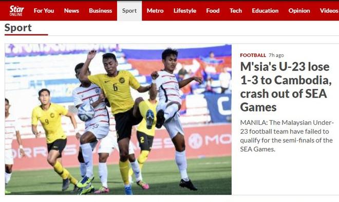 """The Star và nhiều tờ báo Malaysia cho dùng từ """"nhục nhã"""" để chỉ trận thua 1-3 của thầy trò HLV Ong Kim Swee trước Campuchia và bị loại khỏi vòng bảng SEA Games 30"""