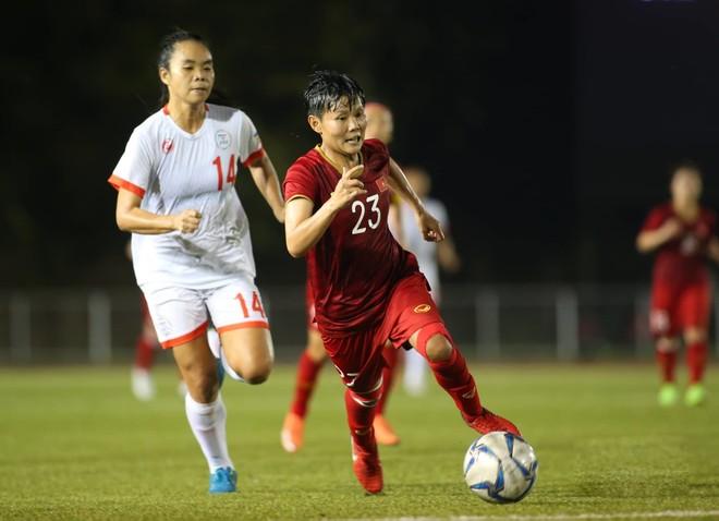 Tuyển nữ Việt Nam (áo đỏ) làm chủ thế trận và chơi tấn công áp đảo