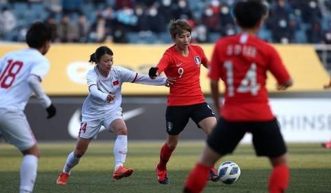Tuyển nữ Việt Nam trong trận thua Hàn Quốc 0-3 (Ảnh: AFC)