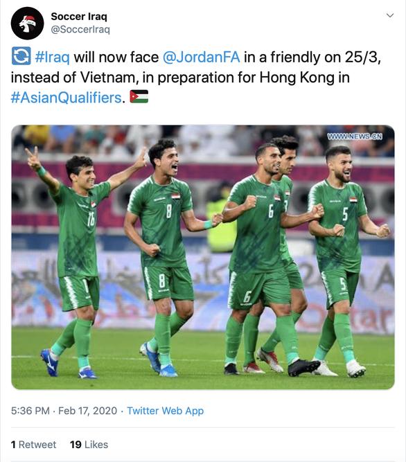 Các trang bóng đá Iraq thông tin việc hủy giao hữu với Việt Nam và Jordan thay thế