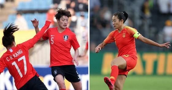 Tuyển nữ Hàn Quốc (trái) và Trung Quốc sẽ phải gặp nhau ở sân trung lập