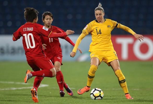 Australia (áo vàng) thể hiện sự áp đảo của đội hạng 7 thế giới với chiến thắng dễ 5-0 trước đội tuyển nữ Việt Nam