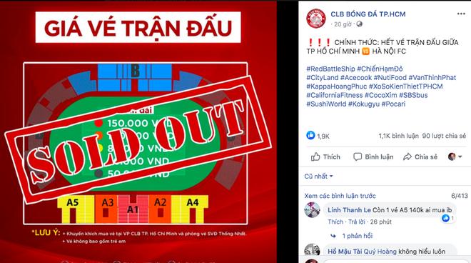 Vé trận TP.HCM - Hà Nội được bán hết trước 2 ngày