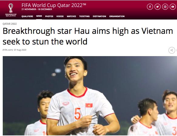 Trang chủ FIFA ca ngợi hậu vệ trẻ Đoàn Văn Hậu