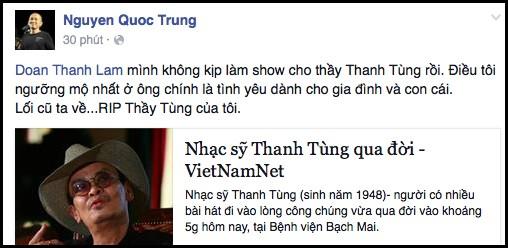 """""""Sao"""" Việt tiếc nuối nhạc sĩ Thanh Tùng ảnh 2"""