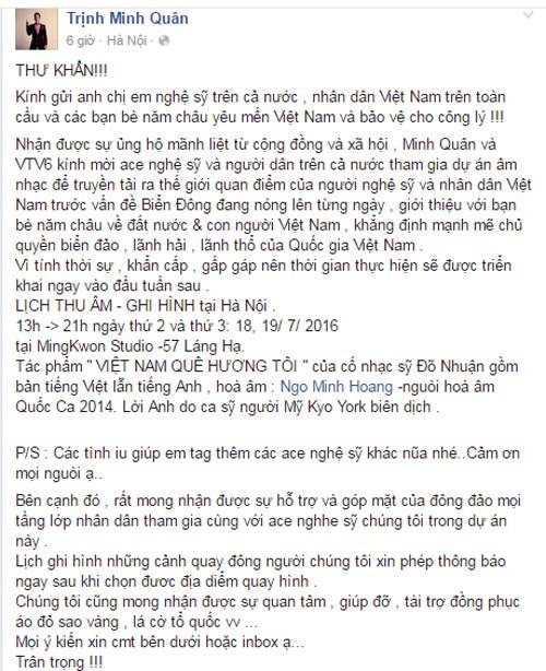 Nghệ sĩ Việt đồng lòng khẳng định chủ quyền biển đảo Việt Nam ảnh 1