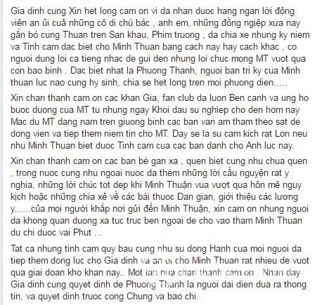 Lá thư cảm ơn mà gia đình Minh Thuận nhờ Phương Thanh gửi đến mọi người...