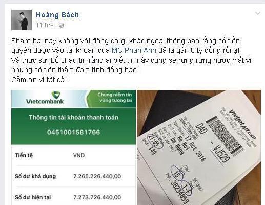 """""""Sao"""" Việt xúc động trước tấm lòng của Phan Anh"""