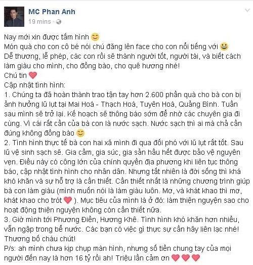 """Hơn 16 tỷ đồng tiếp tục """"đổ"""" về tài khoản của Phan Anh ủng hộ người dân miền Trung"""