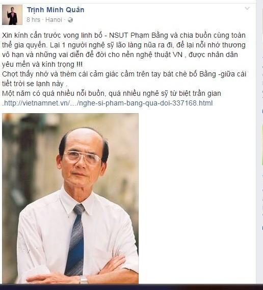 Nghệ sĩ xót xa trước sự ra đi của NSƯT Phạm Bằng 