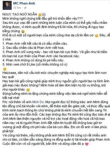 MC Phan Anh bị giả mạo Facebook, bôi nhọ hình ảnh 