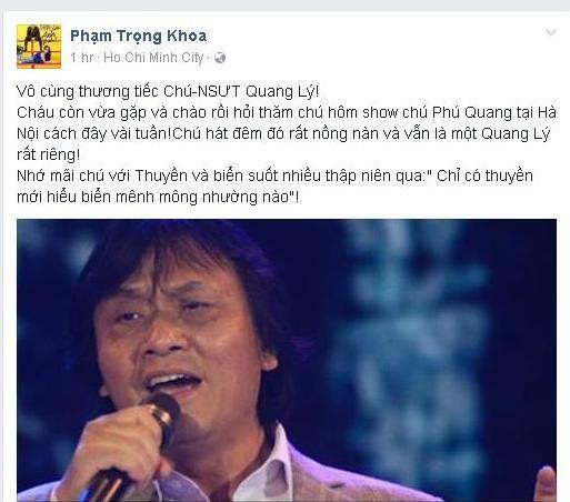 Giới nghệ sĩ Việt tiếc thương trước sự ra đi của NSƯT Quang Lý