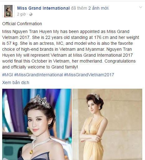 """Á hậu Huyền My đại diện nước chủ nhà Việt Nam thi """"Hoa hậu Hòa bình Quốc tế 2017"""""""