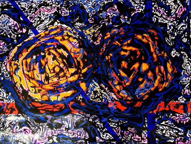 Một tác phẩm của họa sĩ Phạm Sinh được trưng bày tại triển lãm