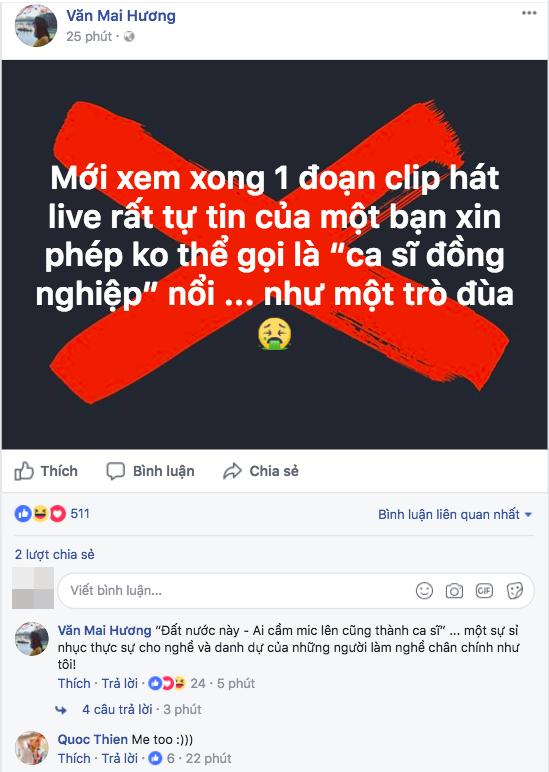 """Văn Mai Hương bức xúc mỉa mai phát ngôn """"Cứ cầm míc là ca sĩ"""" của Chipu"""