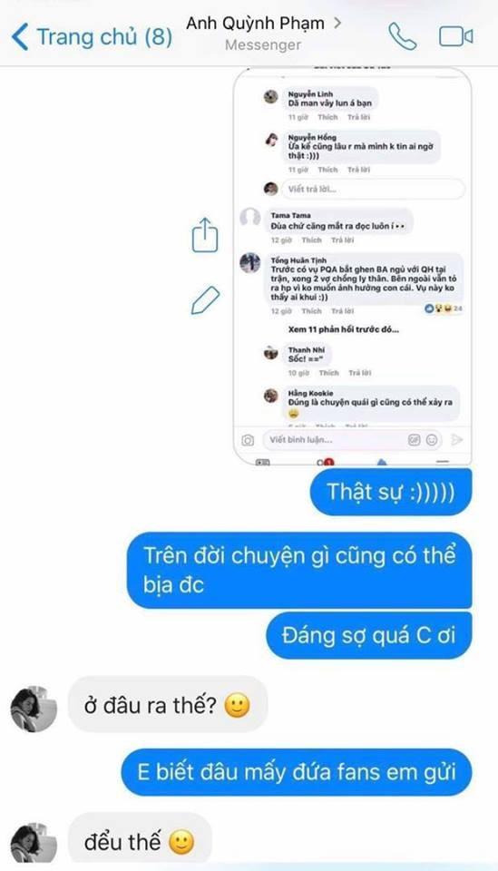 Đoạn tin nhắn giữa Phạm Quỳnh Anh và Bảo Anh được Bảo Anh chia sẻ lại