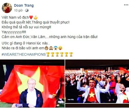 """Mừng Việt Nam vô địch AFF Cup, Facebook """"sao Việt"""" ngập sắc đỏ ảnh 1"""