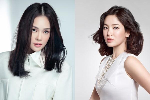 """Dương Cẩm Lynh (bên trái) được ví như """"bản sao"""" của Song Hye Kyo (bên phải)"""