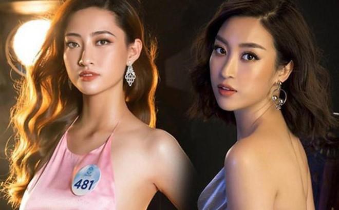 Hoa hậu Lương Thùy Linh (trái) và Hoa hậu Đỗ Mỹ Linh (phải)