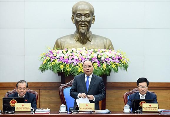 Thủ tướng Nguyễn Xuân Phúc phát biểu tại phiên họp Chính phủ