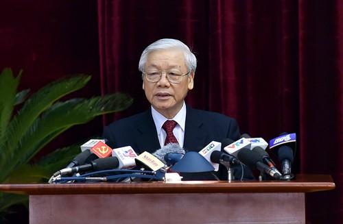 Tổng Bí thư Nguyễn Phú Trọng phát biểu tại Hội nghị Trung ương 6, khóa XII