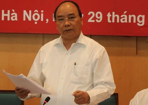 Thủ tướng Nguyễn Xuân Phúc phát biểu tại buổi làm việc với TP Hà Nội