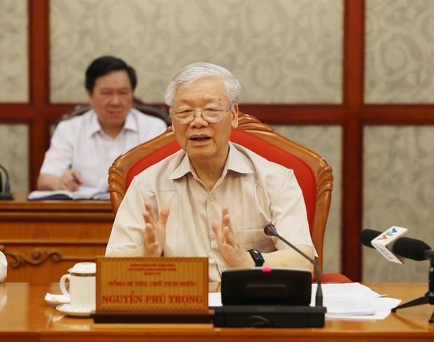 Tổng Bí thư, Chủ tịch nước Nguyễn Phú Trọng phát biểu tại cuộc họp Bộ Chính trị.