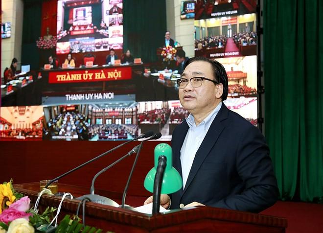 Bí thư Thành uỷ Hoàng Trung Hải phát biểu kết luận hội nghị
