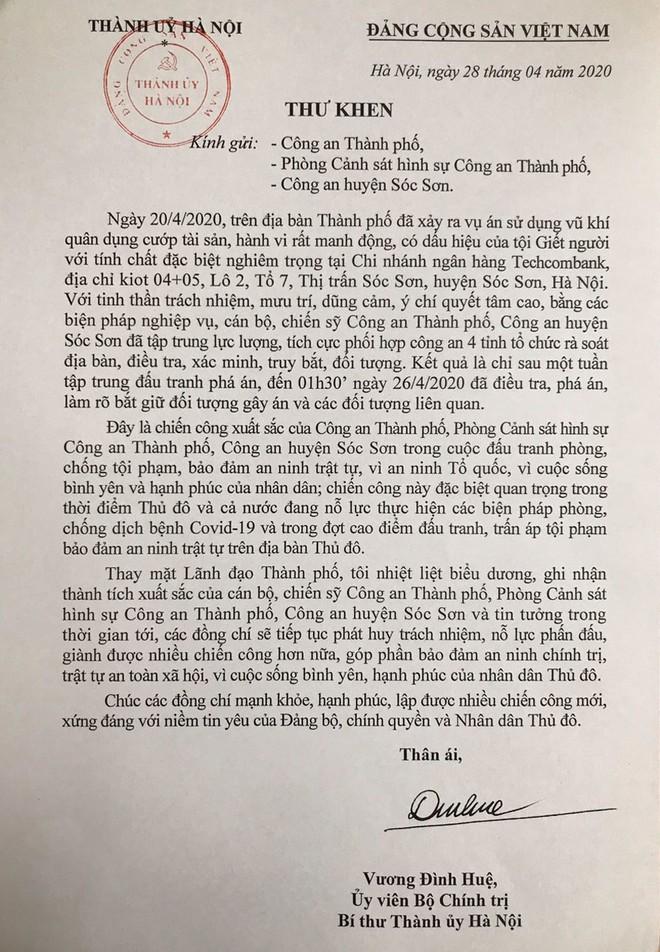 Bí thư Thành ủy Vương Đình Huệ gửi Thư khen Công an Hà Nội với chiến công khám phá vụ cướp ở Sóc Sơn ảnh 1